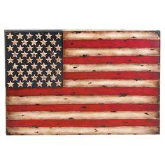 Metal American flag wall decor.