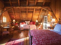 Barn house idea! I love this bedroom !