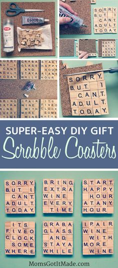 Scrabble Coaster DIY craft tutorial. Perfect hostess gift with a bottle of wine or a pitcher of sangria! #giftsforher #craft #coasters #winewednesday