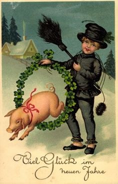 Jaanas Gott o Blandat - Bonne Année . Vintage Christmas Cards, Vintage Cards, Holiday Cards, Happy New Year Animation, New Year Resolution Quotes, Happy Pig, Xmas Elf, New Year Postcard, Pig Art