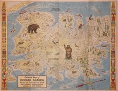 pictorial map of Kodiak Title: (AK -Kodiak) Pictorial Map of Kodiak, Alaska Mapmaker: Jones, Lowell Published: 1954 (AK -Kodiak)