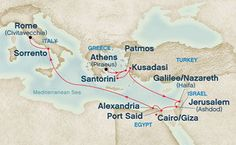 Holy Land  Pacific Princess   From Athens (Piraeus), Greece to Rome (Civitavecchia), Italy