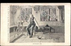 Postcard Chocolat Vinay, le grand père file, le filage, Spinnen. Pre-1900.