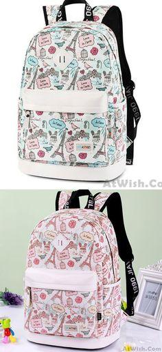 Cute Canvas Travel Bag School Rucksack Sweet Cartoon Eiffel Tower School  Backpack for big sale! ec2e06f74b6e5