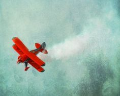 Vintage Airplane Art Print - Red Blue Nursery Biplane Flying Aviation Boy Room Wall Decor Plane Photograph. $25.00, via Etsy.