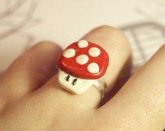 kitsch red mario mushroom ring