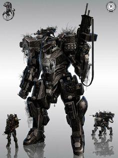 Concept robot art by Theo Stylianides Sci Fi Armor, Sci Fi Weapons, Arte Robot, Robot Art, Armor Concept, Concept Art, Gundam, Mekka, Futuristic Armour
