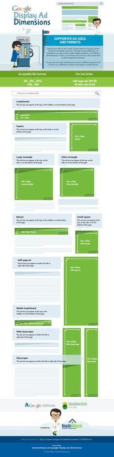 Dimensiones de los anuncios en la Red de Display de Google #infografia #infographic  A través de AdWords de Google, es posible publicar anuncios en la Red Display de Google en 10 dimensiones de anuncios diferentes. Hay un límite de tamaño máximo de archivo, así como restricciones a los formatos de archivo aceptados. Como se puede ver en esta infografía cada dimensión de anuncio responde a un propósito diferente y se muestra en una ubicación diferente en una página web o dispositivo móvil.
