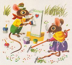 Mouse's House by my vintage book collection (in...
