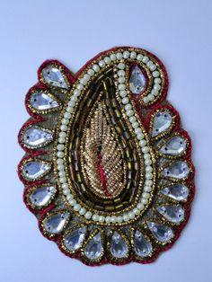 Indian Paisley Applique with Kundan Work by MystiCraft on Etsy