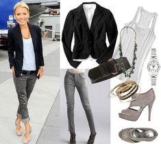 in port style ~ skinny gray denim, white tank top, nude flats (gray heels) & black jacket or cardigan