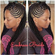 we love mixing twists and braids, singles and cornrows. African Braids Hairstyles, Girl Hairstyles, Braided Hairstyles, Protective Hairstyles, Braids For Kids, Girls Braids, Twisted Hair, Braided Mohawk Black Hair, Mohawk Braid