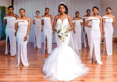 All white wedding All White Wedding, Formal Wedding, Wedding Gowns, African Wedding Attire, Wedding Trends, Wedding Ideas, Wedding Bridesmaids, Beautiful Bride, Bridal Hair