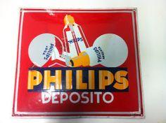decoración vintage, antiguitats-baraturantic: Antigua Chapa Cartel Esmaltado Philips Depósito