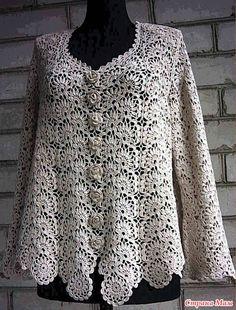 crochet strips or any-length motifs make this beautiful crochet shirt Кофточка большого размера из ленточного кружева (отредактирован 25.03.13)