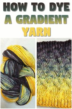 How to Dye a Gradient or Ombre Style Yarn. DIY yarn dying tutorial, showing you how to dye your own long, gradient yarn. How to Dye a Gradient or Ombre Style Yarn. DIY yarn dying tutorial, showing you how to dye your own long, gradient yarn. Fabric Yarn, How To Dye Fabric, Wool Yarn, Crochet Yarn, Knitting Yarn, Textiles, Spinning Wool, Yarn Inspiration, Art Textile
