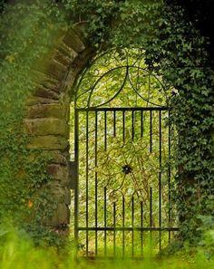 Secret gate in a cottage garden