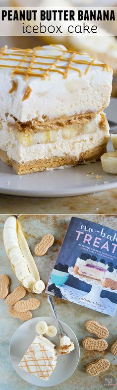 Summer never looked so good! Leave that oven off and make this Peanut Butter Banana Icebox Cake that everyone will go crazy for. Frozen Desserts, Frozen Treats, No Bake Desserts, Delicious Desserts, Pudding Desserts, Sweet Recipes, Cake Recipes, Dessert Recipes, Banana Recipes