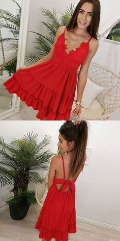 A-Line V-Neck Open Back Short Homecoming Dress with Lace by MeetBeauty, $115.19 USD