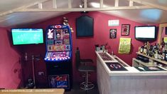 June's Bar, Pub/Entertainment from Garden owned by Adam Spriggs Man Cave Bathroom, Man Cave Room, Man Cave Home Bar, Diy Home Bar, Diy Bar, Man Shed Interior Ideas, Garden Bar Shed, Shed Of The Year, Pub Sheds