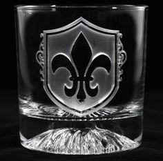 Fleur De Lis Whiskey Scotch Glass, Engraved Fleur-de-Lis Bar Glasses at Crystal Imagery.