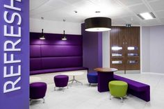 Mercer Glasgow 1 001 700x466 Inspiration: Offices Clad In Purple, The Color of Royalty | Purple office, Office interior design, Office colors
