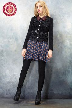 Womens Lace Flower Collarless Outerwear