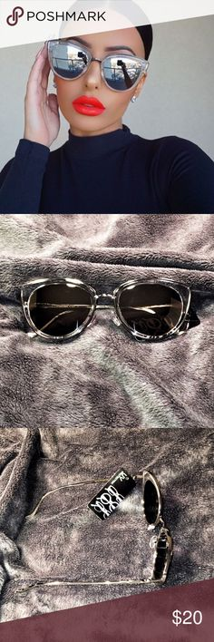 "HP Silver "" My girl "" style Cat Eye Sunnies Host Pick VAVA Voom ! Silver/Clear Frame black Lens. 100% UV rated. Not flimsy! Drool worthy! Sunglasses pictured are actual !!!  Buy with confidence!  ⭐️⭐️⭐️⭐️⭐️TOP RATED seller ⭐️⭐️⭐️⭐️⭐️⭐️  Make an OFFER ⬇️ Please don't ask me whats the lowest •Boutique Metal Trim Plastic Sunnies Mirrored glasses, heart glasses and aviator sunglasses coming soon! Accessories Sunglasses"