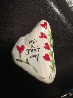 Have a great day rock, egg, shell painting & decopauge. Rock Painting Patterns, Rock Painting Ideas Easy, Rock Painting Designs, Pebble Painting, Pebble Art, Stone Painting, Painted Rocks Craft, Hand Painted Rocks, Stone Crafts