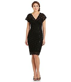 Marina ShortSleeve SequinLace Dress #Dillards  The silver one is VERY pretty!