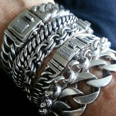 Silver Cuff, Silver Jewelry, Sterling Silver, Black Headlights, Link Bracelets, Chains, Jewerly, Wolf, Men's Fashion
