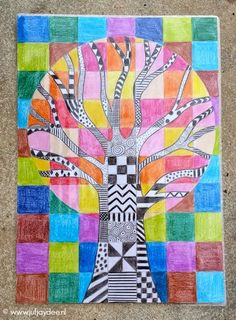 Juf Jaydee: The tree - boxes, patterns and color contrast 5th Grade Art, School Art Projects, Autumn Art, Art Club, Art Plastique, Art Activities, Teaching Art, Elementary Art, Tree Art