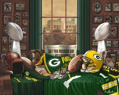 Green Bay Packer Traditions Art Print Painting Poster $35.00+