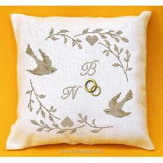Wedding ring pillow - with cross stitch Wedding Pillows, Ring Pillow Wedding, Wedding Ring, Submarine Craft, Cross Stitch Cushion, Ring Bearer Pillows, Hd Wallpaper Iphone, Cross Stitch Heart, Striped Wallpaper