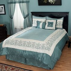 Kingstone 16-pc Bedding Ensemble ~K. Redecorate your entire bedroom at an affordable price! As a coordinated bedroom ensemble that includes window treatments, this great value showcases a classic design in a box border motif with elegant embroidery. Each piece is perfectly coordinated to easily create a complete, beautiful room. The window valances and panels are even connected for your setup convenience.