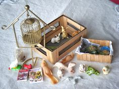 Dollhouse Miniature Lot PETS bunnies turtles by larkinbirdvintage, $32.00