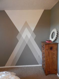 It's time for a geometry lesson- RAD House style. You may or may not have already seen my bedroom geometric wall detail in my Room Tour here. I've been getting some inquiries about h… wall painting Painter's-Tape Geometry Wall Painting Decor, Diy Wall Art, Wall Decor, Painting Designs On Walls, Painting Walls, Wall Paintings, Geometric Wall Paint, Geometric Art, Wall Paint Patterns