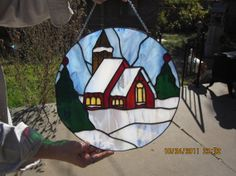 Christmas Country Chapel by SistersStainGlass on Etsy, $225.00