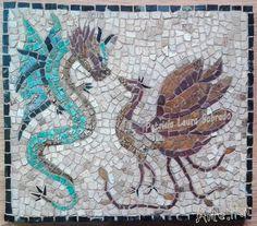 Un poco de mosaico estilo romano, DRAGÓN Y FÉNIX: LA ETERNA LUCHA. Mármol. 40 x 35 cm Se realizan diferentes diseños para exteriores, interiores, murales, etc