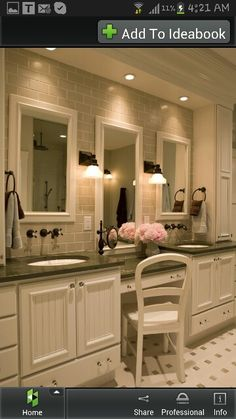 Bathroom vanity with sitting area