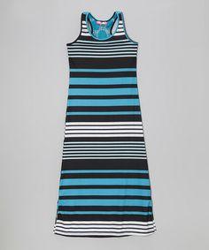 Look what I found on #zulily! Aqua & Black Stripe Side Slit Maxi Dress - Toddler & Girls by Cherry Stix #zulilyfinds