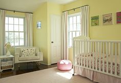 Soft Yellow Nursery.   (We have yellow walls in there...trying to decide whether or not to re-paint!)