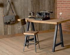 Modern Wood Desk. reclaimed wood with steel legs door UrbanWoodGoods