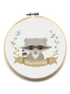 Trash Panda!  Raccoon Modern Cross Stitch Pattern available from The Pinprickery!  <3