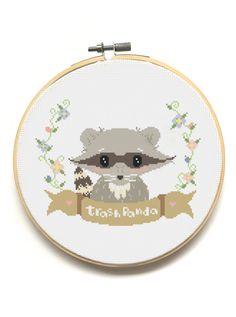 Trash Panda!  Raccoon Modern Cross Stitch Pattern available from The Pinprickery!  <3