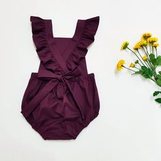 Purple Baby Romper - Baby Girl Playsuit - Toddler Girl Outfit - Ruffle Straps - Newborn Gift - Coming Home Outfit - Burgundy - Boho Playsuit Girls Playsuit, Baby Girl Romper, Girls Rompers, My Baby Girl, Ruffle Romper, Boho Romper, Baby Rompers, Newborn Baby Girl Outfits, Lila Baby