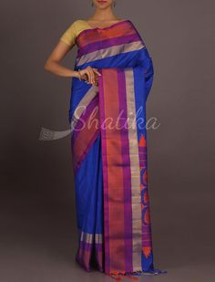 Sanjana Blue And Purple Paisley Motifs Pure #PattuSilkSaree