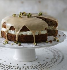 Try a coffee cake with a difference: flavoured with aromatic cardamom and served with a delicious pistachio cream