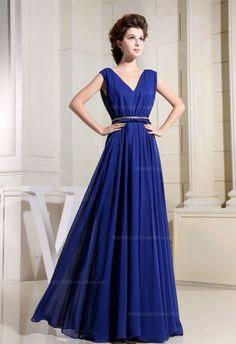 Deep V-NeckNatural Waist Pleated Skirt Chiffon Dress