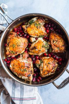 A cranberry chicken dish that is full of herby and earthy flavor. It is an elegant dish that can be served for a dinner party and/or for a date night in! Cranberry Chicken, Earthy, Easy Meals, Good Food, Dishes, Recipes, Blueberry Chicken, Plate, Tablewares